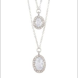 Carolee Double Strand Crystal Pendant Necklace